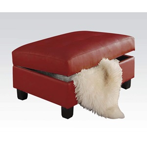 51187 RED STORAGE OTTOMAN