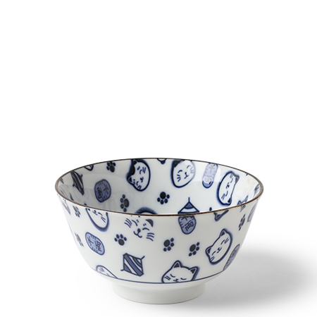 "Maneki Neko Blue 5"" Bowl"