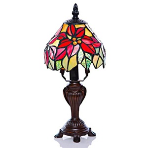 "12.5""H Stained Glass Poinsettia Accent Table Lamp"
