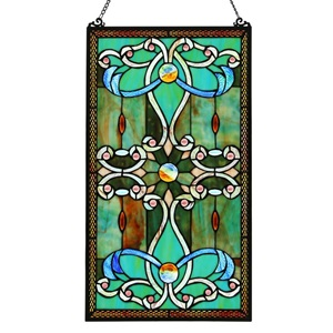 "26""H Tiffany Style Stained Glass Brandi's Window Panel - Green"
