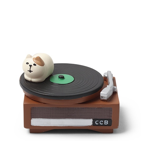 Figurine Cat on a Record Player