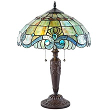 "20""H Vivienne Baroque Style Stained Glass Green Table Lamp"
