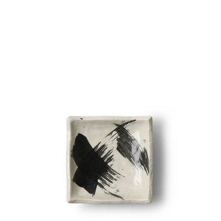 Black & White Brush Sauce Dish
