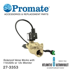 "Solenoid: 3/4"" 12v / 2-230psi / Brass / Lead Free / NSF for Digital GUARDIAN™ UV Monitors"