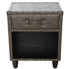 "21.5""H Faux Leather Side Table"
