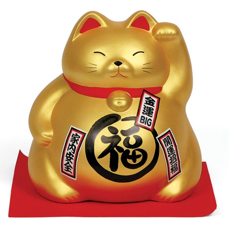 "FORTUNE CAT BANK 8"" - GOLD"