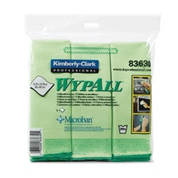 83630 KC WYPALL GREEN MICROFIBER CLOTHS, 15.75 X