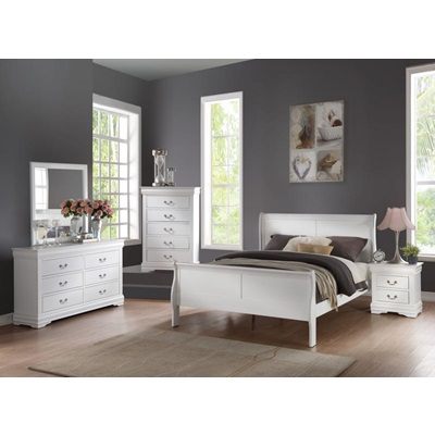 23840F LOUIS PHILIPPE WHITE FULL BED