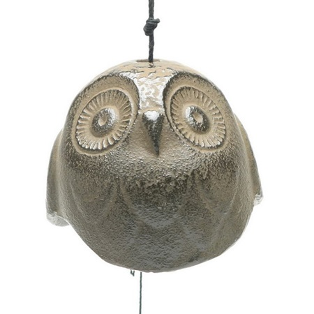 Wind Chime Owl Brown 2""