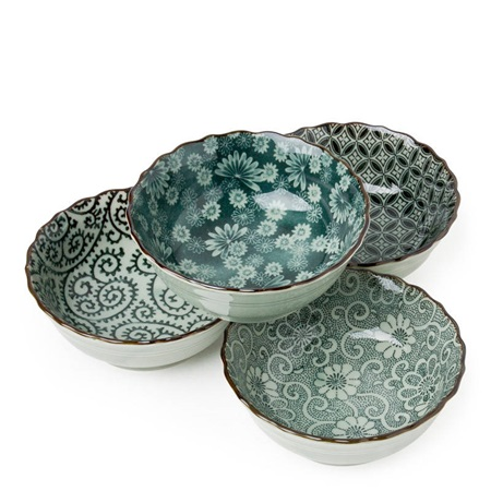 "Antique Green 4.75"" Bowl Set"