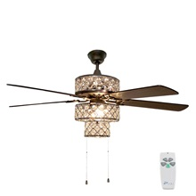 "52""W Tri-Tiered Silver Punched Metal Ceiling Fan"