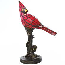 "13.5""H Stained Glass Cardinal Accent Lamp"