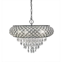 "14.25""H Clear and Chrome Tiered Crystal Glass Plug-in and Hardwire Hanging Chandelier"