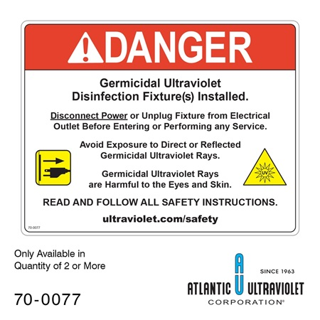 Danger Label for In-Duct UV System 8.5x11""