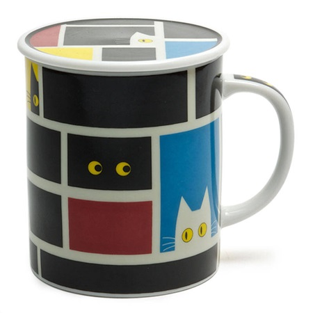 Cubist Cat 8 Oz. Lidded Mug - Black