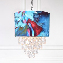 "18.5""H Lupino Tiered Crystal Pendant Hanging Lamp - Abstract Watercolor"