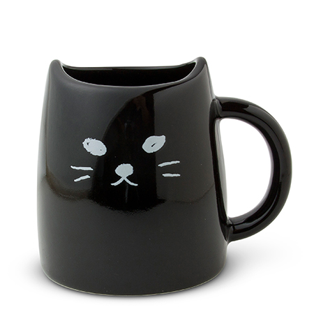 CAT MUG 10 OZ. BLACK GLOSSY