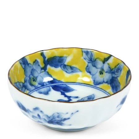 "Blue Flower 4.25"" Yellow Bowl"