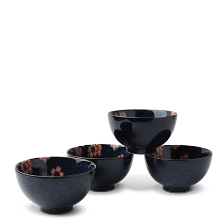 "Blue Sakura 4.25"" Bowl Set Of 4"