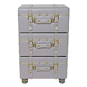 "26.25""H Three-Drawer Faux Leather Trunk-Inspired Cabinet"