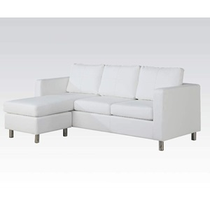 15068 WHITE PU REV. CHAISE SECTIONAL