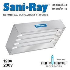 SaniRay® UV Recessed Air Surface Irradiating Fixtures - RRDHO-Four Lamp High Output