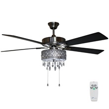 "52""W Roxsie 5-Blade Crystal LED Chandelier Ceiling Fan with Remote Control"