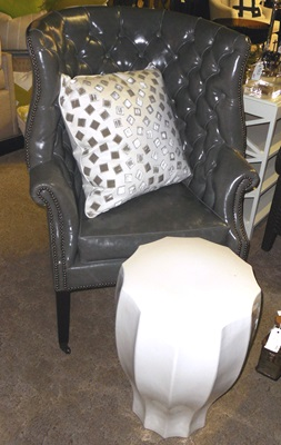 Grey Tufted Barrel Chair