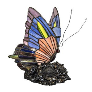 "8.75""H Stained Glass Butterfly Accent Lamp"