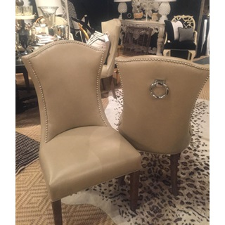 Tan Leather Studded Side Chairs
