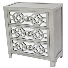 "28""H Glam Slam 3 Drawer Mirror Chest"