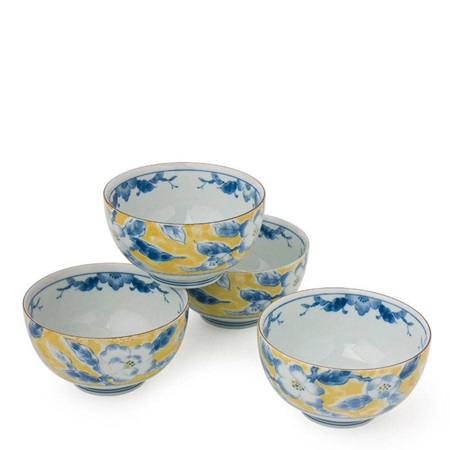 "BLUE FLOWER 5"" YELLOW BOWL SET"
