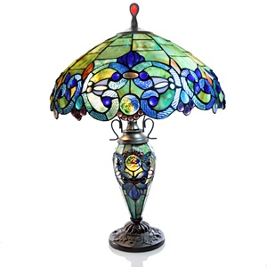 "26""H Stained Glass Victorian Style Double Lit Table Lamp"