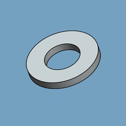 "#6 Flat Washer, .156"" ID X .312"" OD X .027""-.048"" Thick, 300 Series Stainless Steel"