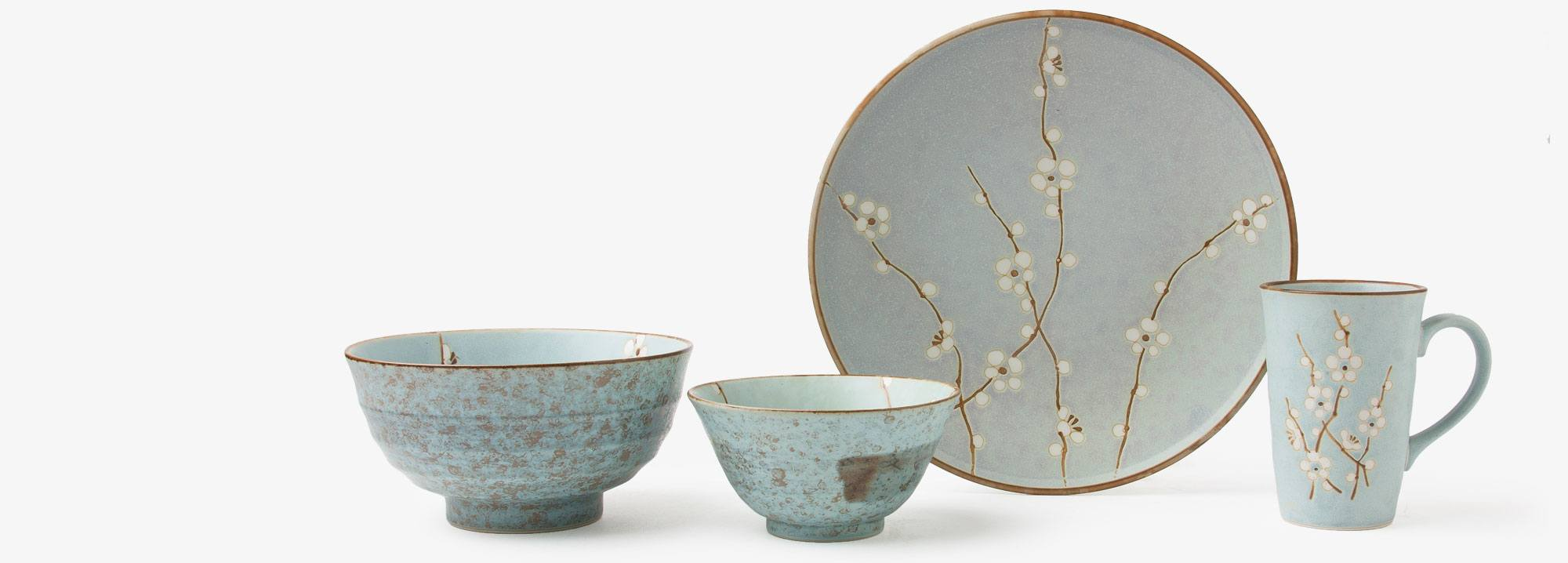 This serenely beautiful platter features a cool blue background and delicate spring blossoms to complement your food. Made in Japan. & Blue Spring Blossoms Dish Collection | Japanese Ceramics | Miya