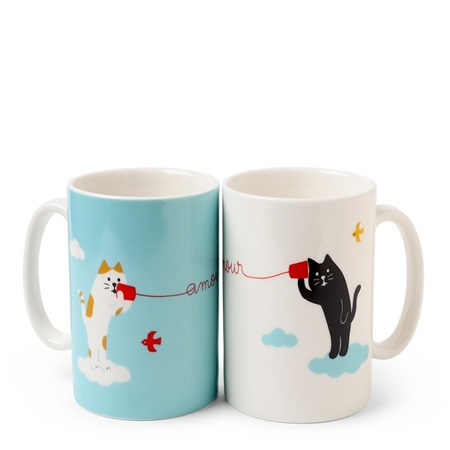 Cat Hearts Mug Set