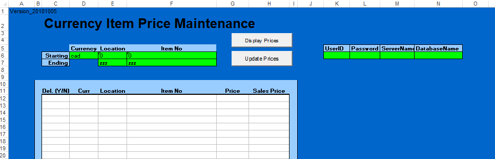 currency item price maintenance