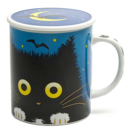 Midnight Cat 8 Oz. Lidded Mug