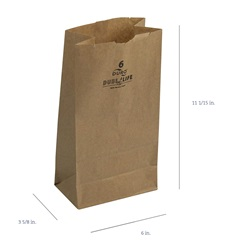 6# GROCERY BAG, 6 X 3-5/8 X 11-1/16, DURO