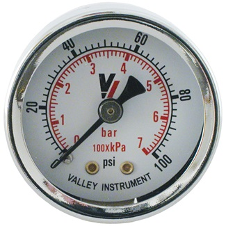 "Dry 0-100 PSI 1.5"" Face Rear Mount Gauge"