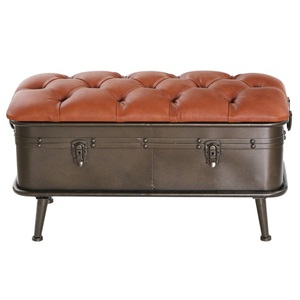 "17""H Tufted Faux Leather Storage Bench"
