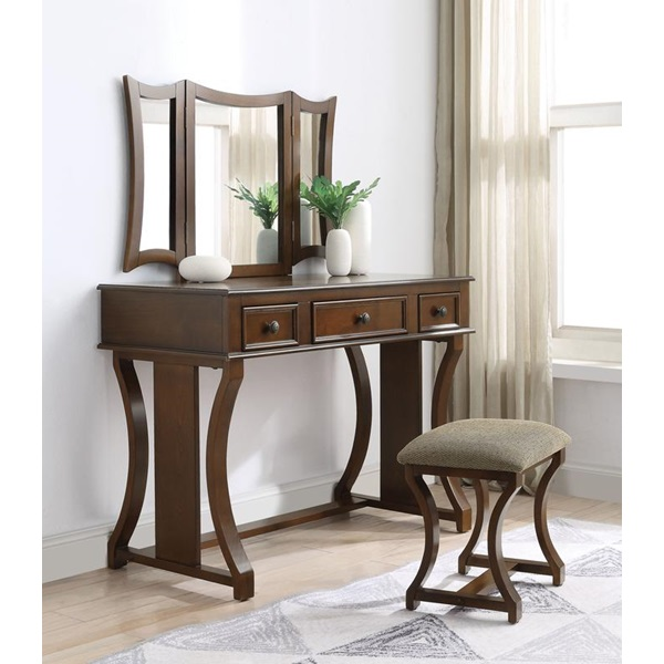 Remarkable Acme Furniture 90355 Popidia Cherry Vanity Set Squirreltailoven Fun Painted Chair Ideas Images Squirreltailovenorg