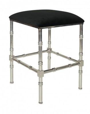Nickel Bamboo Counter Stool With Black Velvet Cushion