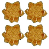 "BROWN LEAF 4.75"" PLATE SET`"