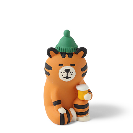 "Figurine Tiger 2""H With Beer"