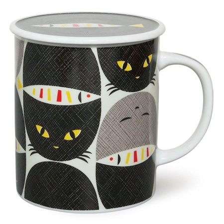 MASK CAT & FISH 8 OZ. LIDDED MUG - BLACK