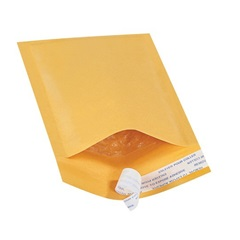 "4 X 8"" KRAFT BUBBLE MAILERS, SELF-SEAL, #000 500/CS   B851SS"