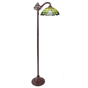 "60.5""H Stained Glass Peridot Vivaldi Side Arm Floor Lamp"