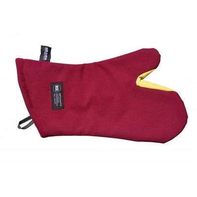 "San Jamar KT0212 Cool Touch 13"" Flame Red Conventional Oven Mitt with Kevlar"