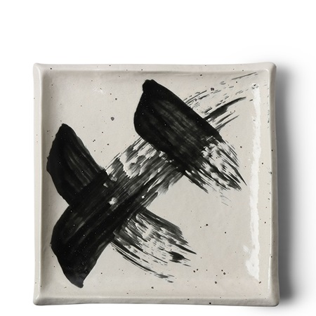 Black & White Brush Square Plate